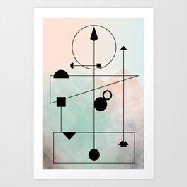 Geometric Scandinavian Design Pastel Colors Art Print