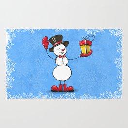 Snowman with Christmas gift. Rug