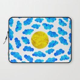 Cute blue cartoon clouds and sun. Laptop Sleeve
