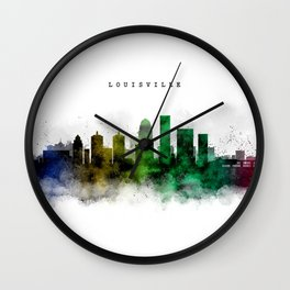 Louisville Watercolor Skyline Wall Clock