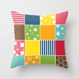 Kids Room Patch Pattern Throw Pillow