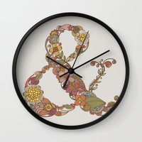 ampersand Wall Clocks featuring Ampersand by Valentina Harper