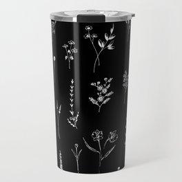Black wildflowers Travel Mug
