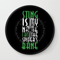 bane Wall Clocks featuring Spider's Bane by Out of the Dust Designs