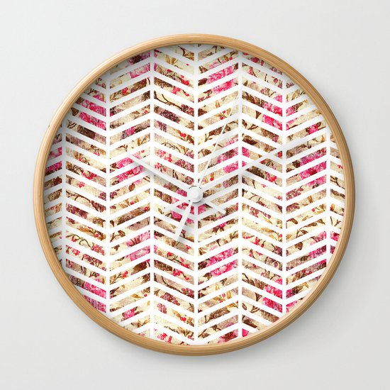 Pink Vintage Floral Girly Chevron Zig Zag Pattern Wall Clock