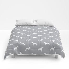 Doberman Pinscher dog pattern grey and white minimal dog breed silhouette dog lover gifts Comforters