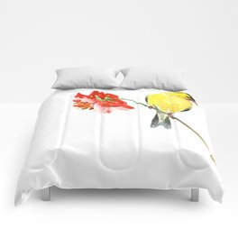 American Goldfinch and Red Flower, Minimalist Yellow Red Floral art Comforters