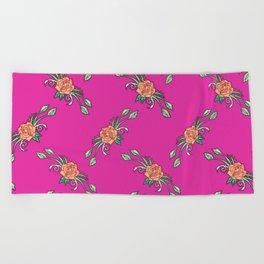Roses Coral Beach Towel