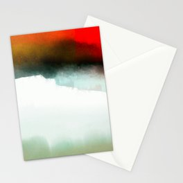 Red, Teal and White Abstract Stationery Cards