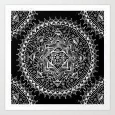 White Flower Mandala on Black Art Print