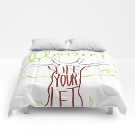 Let your life bloom (green) Comforters