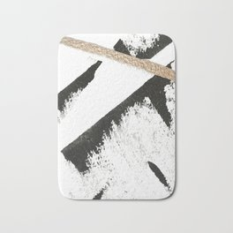 Sassy: a minimal abstract mixed-media piece in black, white, and gold by Alyssa Hamilton Art Badematte