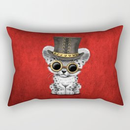 Steampunk Snow Leopard Cub Rectangular Pillow