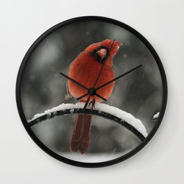 Curious Red Cardinal in Snowstorm Wall Clock