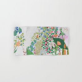 Painterly Floral Jungle on Pink and White Hand & Bath Towel