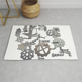 Steampunk mechanical working concept Rug