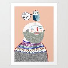 I'm Vegan. Vegan art, vegan, illustration, funny, vegan print Art Print