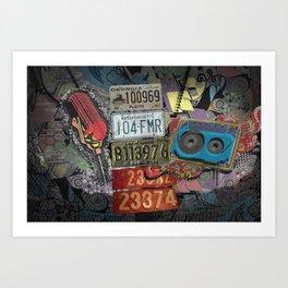 Retro Plates Art Print