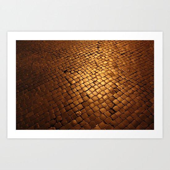 paving stone gold Art Print