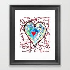 scribble heart Framed Art Print