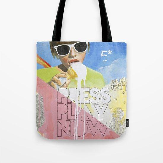 Press Play Now Tote Bag