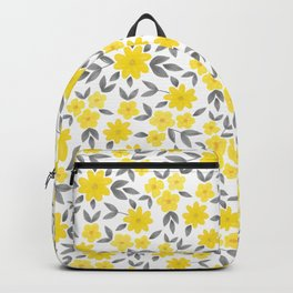Watercolor Spring Summer Flowers, Floral Pattern in Illuminating Yellow and Ultimate Gray Color Backpack