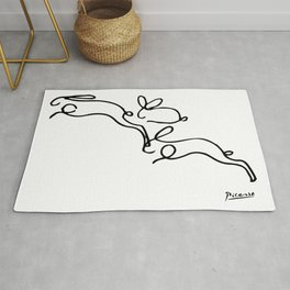 Rabbits Line Drawing, Animals Sketch Artwork, Pablo Picasso, Tshirts, Prints, Posters, Bags, Women, Rug