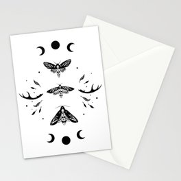 Death Head Moths Night - Black and White Stationery Cards