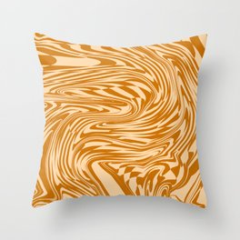 Psychedelic Warped Marble Wavy Checkerboard in Orange and Cream Throw Pillow