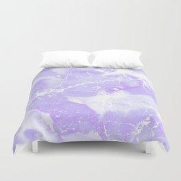 Modern abstract blush violet white marble pattern Duvet Cover