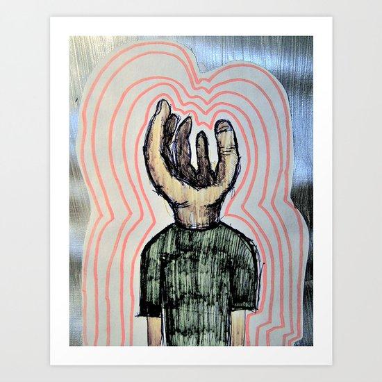 Hand wearing Tee Shirt Art Print
