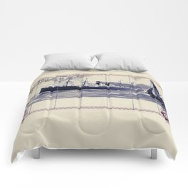 Red Star Line Antwerp New York Delft blue style Comforters