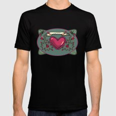 love  and heart Mens Fitted Tee Black MEDIUM