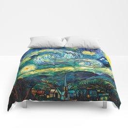 Tardis Art Starry Painting Night Comforters