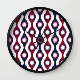 Ikat Stringed Beads Pattern – Navy Maroon Orchid Wall Clock