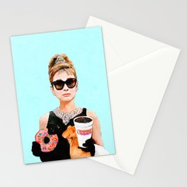 Breakfast at Dunkin Donuts - Audrey Hepburn Stationery Cards