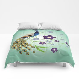 Peacock with flowers Comforters