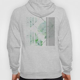 Abstract Geometric Lines Green Peonies Flowers Design Hoody