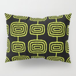 Mid Century Modern Atomic Rings Pattern Black and Chartreuse Pillow Sham