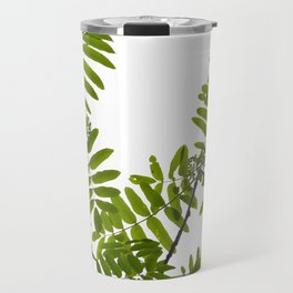 Green Rowan Leaves White Background #decor #society6 #buyart Travel Mug