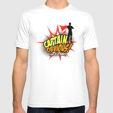 Captain Obvious t-shirt MEDIUM White Mens Fitted Tee