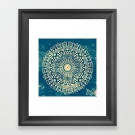 BLUE ORGANIC MANDALA Framed Art Print