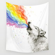 Wolf Rainbow Watercolor Howling Animal Whimsical Animals Wall Tapestry