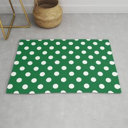Polka Dots (White & Dark Green Pattern) Rug