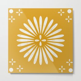 Happy Sunshine - yellow art, sunshine, boho art, bohemian, tile, home decor, yellow, yellow art print Metal Print