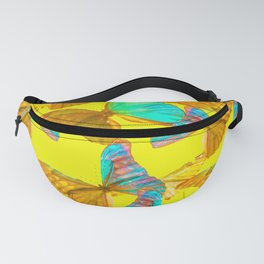 Butterflies - turquoise wings - yellow background #Society6 #buyart Fanny Pack