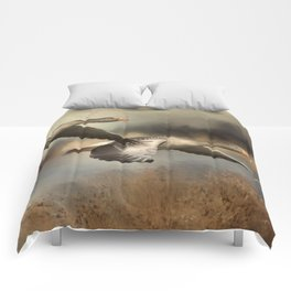 Wild Geese Flying Over Pond Comforters