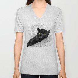 Black panther on a branch - Grey Unisex V-Neck