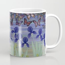 midnight frogs with irises and butterflies Coffee Mug
