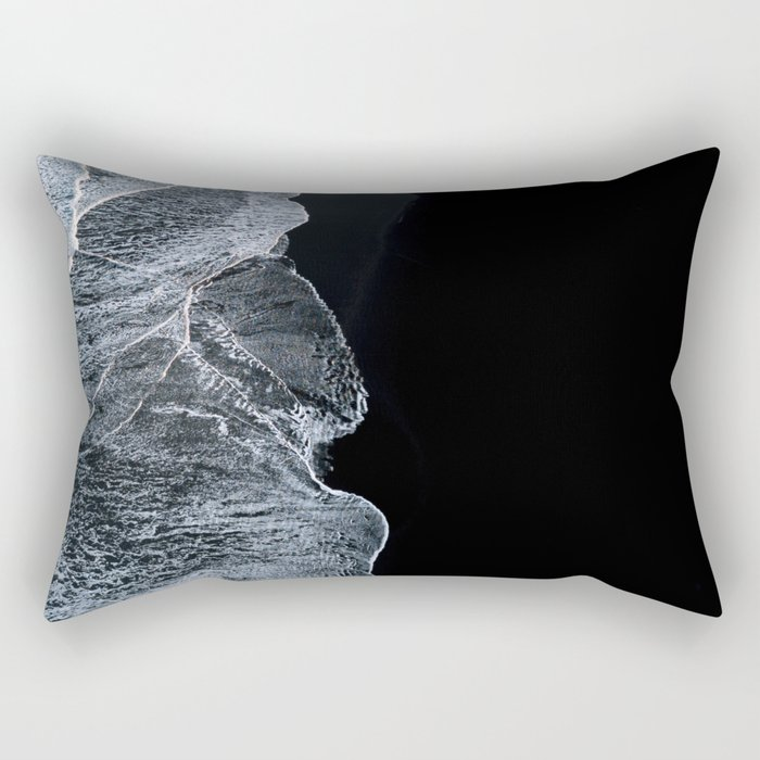 Waves on a black sand beach in iceland - minimalist Landscape Photography Rectangular Pillow